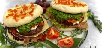 Italian burger with homemade pesto