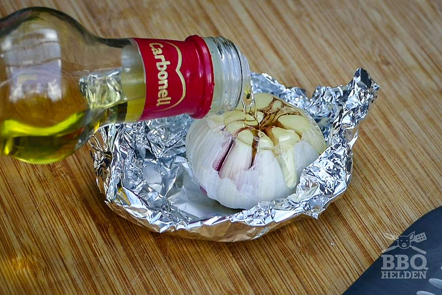 bulb of garlic ready to smoke