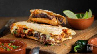 Cheesesteak sandwich with roasted salsa