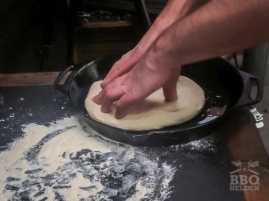 form the dough in to skillet