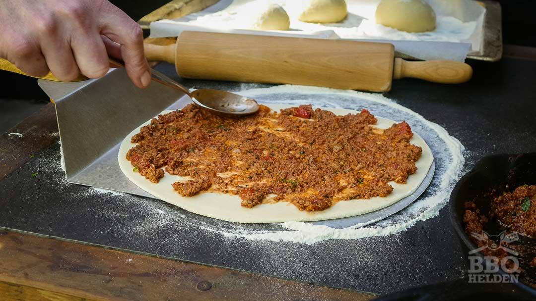 dough layered with minced lamb