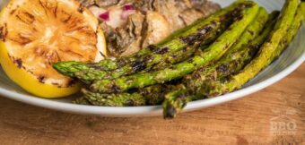 Grilled asparagus from the barbecue