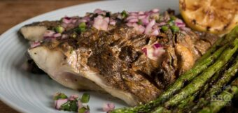 Grilled sea bream with red onion salsa