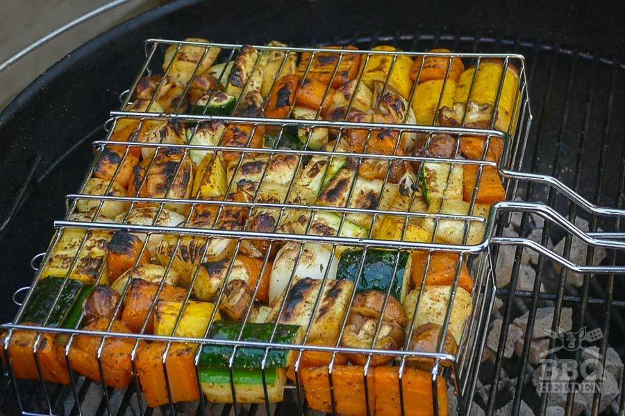 grilled vegetables in grill basket
