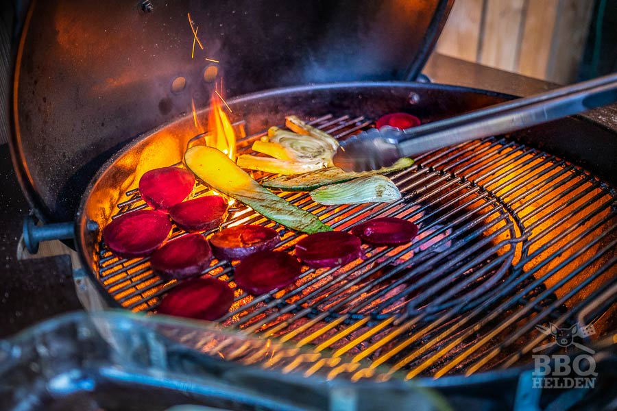 grilling the vegetables