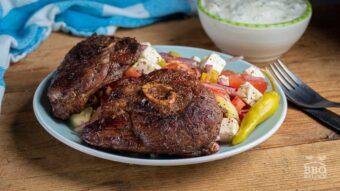 Lamb leg steaks with Greek salad