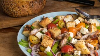 Panzanella with grilled chicken