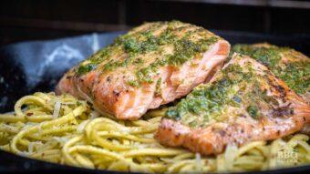 Grilled pesto salmon with pasta
