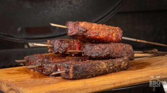Pork belly burnt ends skewers