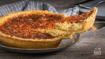 Quiche Lorraine with bacon and onion from the grill