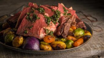 Rib roast with grilled vegetables