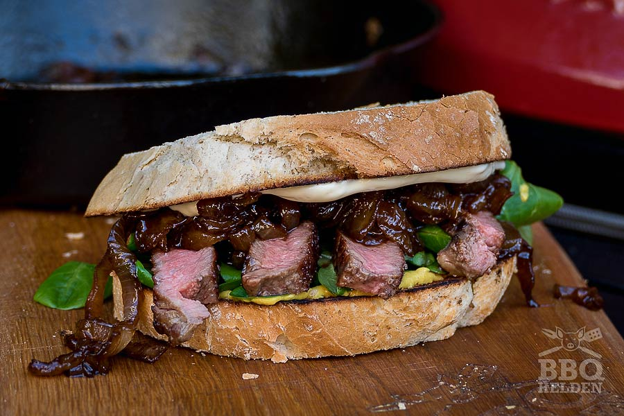 ribeye sandwich with caramelized onion