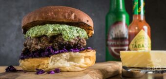 Salsa Verde burger with Parmesan