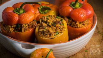 Stuffed bell peppers with rice and bacon