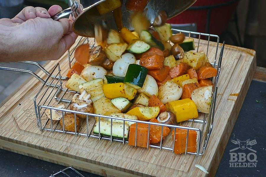 vegetables in grill basket